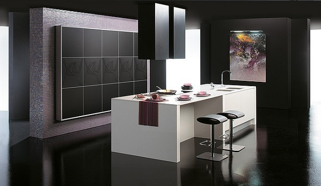 Una cocina en blanco y negro mate comedores europeos for Marmol color morado