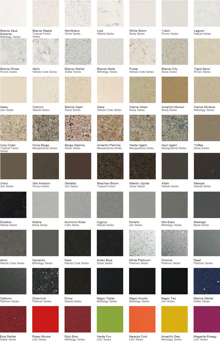 Cuarzo comedores europeos for Colores de granito para encimeras de cocina
